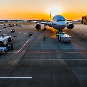 Airplane On Airport Runway At Sunset - Civil Works Engineering - Antoun