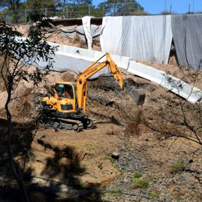 Excavator Is Digging The Ground For Rehabilitation and Repairs - Civil Works Construction - Antoun
