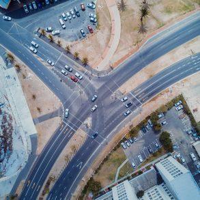 Birds eye view over roads